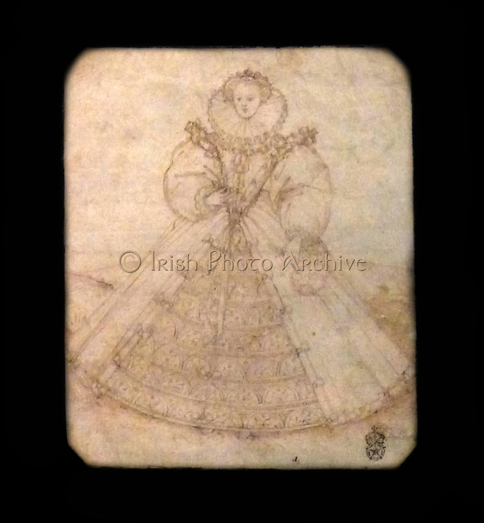 The Official Image of Elizabeth 1.  Queen Elizabeth commissioned a new Great Seal in 1584.  This drawing by Nicholas Hilliard (possibly 1547 - died London 1619) may be one of the designs for the new seal.  Design probably 1585.  Pen and ink on vellum.  The seal was used to authorise important documents.