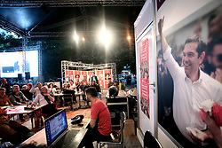 May 26, 2019 - Athens, Attica, Greece - Supporters of Syriza party react as they watch the results of exit poll in an electoral kiosk in central Athens, Greece on May 26, 2019 during European Parliamentary elections. (Credit Image: © Giorgos Georgiou/NurPhoto via ZUMA Press)