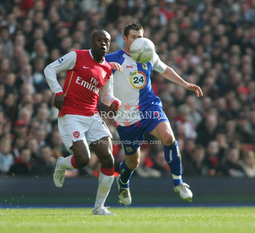 London, England - Saturday, February 17, 2007: Arsenal's William Gallas and Blackburn Rovers' Brett Emerton during the FA Cup 5th round match at the Emirates Stadium. (Pic by Chris Ratcliffe/Propaganda)