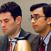 "Raj De (right) and Michael Jacobsen (left). Commission staffers present Staff Statement No. 16, ""Outline of the 9/11 Plot."" The 9/11 Commission's 12th public hearing on ""The 9/11 Plot"" and ""National Crisis Management"" was held June 16-17, 2004, in Washington, DC."