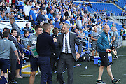 Cardiff City Manager Paul Trollope and Leeds United Manager Gary Monk before the EFL Sky Bet Championship match between Cardiff City and Leeds United at the Cardiff City Stadium, Cardiff, Wales on 17 September 2016. Photo by Andrew Lewis.