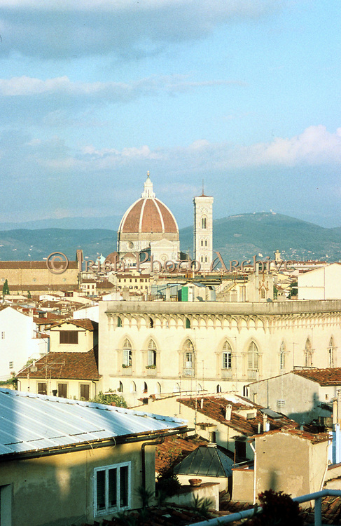 View across Florence, Italy with the Duomo (Cathedral) and the Campanile  in the distance.