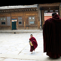 APRIL 5, 2012 :  a little monk brings supplies to his teachers during a prayer in a temple at Labrang monastery.