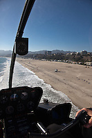 The long stretch of beach stretching from Santa Monica to the north.