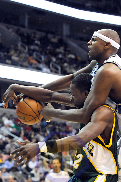 6 January 2008:   Washington Wizards center Brendan Haywood (33) fouls Seattle SuperSonics forward Jeff Green (22) in the second half at the Verizon Center in Washington, D.C.  The Wizards defeated the SuperSonics 108-86.