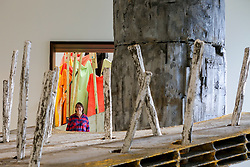 © Licensed to London News Pictures. 01/01/2019. London, UK. Phyllida Barlow poses in front of her artwork at Royal Academy of Arts. British artist Phyllida Barlow transforms the Royal Academy's Gabrielle Jungels-Winkler Galleries with an exhibition of entirely new work, entitled cul-de-sac. The exhibition has been conceived as a sequential installation running across all three of the interconnected spaces. The exhibition is open to the public from 23 February until 23June 2019. Photo credit: Dinendra Haria/LNP