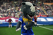 Leeds Rhinos Mascot during the Betfred Super League match between Hull FC and Leeds Rhinos at Kingston Communications Stadium, Hull, United Kingdom on 19 April 2018. Picture by Mick Atkins.