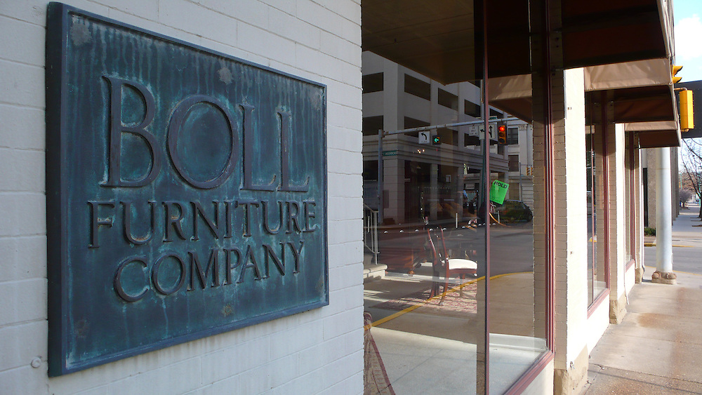 Interiors and exteriors of the Boll Furniture store
