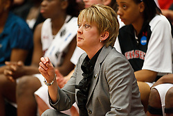 March 19, 2011; Stanford, CA, USA; Texas Tech Lady Raiders head coach Kristy Curry on the sidelines against the St. John's Red Storm during the second half of the first round of the 2011 NCAA women's basketball tournament at Maples Pavilion. St. John's defeated Texas Tech 55-50.