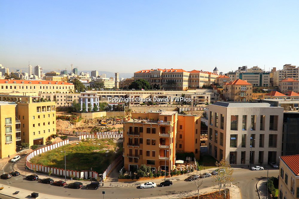 Reconstructed buildings and skyscrapers in Beirut's historic district, Lebanon.