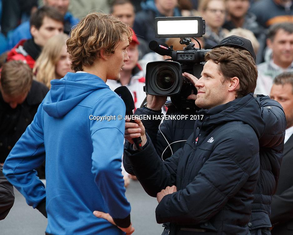 Sieger ALEXANDER ZVEREV (GER) SKY Sport TV Interview mit Moritz Lang, Endspiel, Final,Siegerehrung,<br /> <br /> Tennis - BMW Open 2017 -  ATP  -  MTTC Iphitos - Munich -  - Germany  - 7 May 2017.