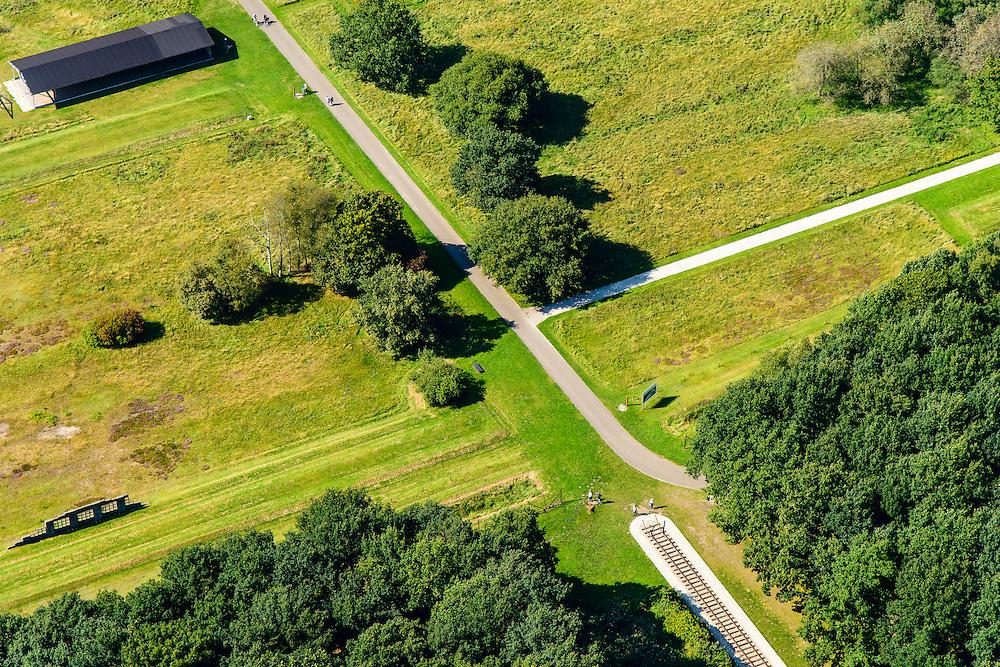 Nederland, Drenthe, Westerbork, 23-08-2016; Herinneringscentrum Kamp Westerbork, voormalig doorgangskamp. Met monumenten die refereren aan voormalige spoorweg, reconstructies van de barakken, appelplaats.<br /> Former Camp Westerbork, National Westerbork Memorial<br /> luchtfoto (toeslag op standard tarieven);<br /> aerial photo (additional fee required);<br /> copyright foto/photo Siebe Swart