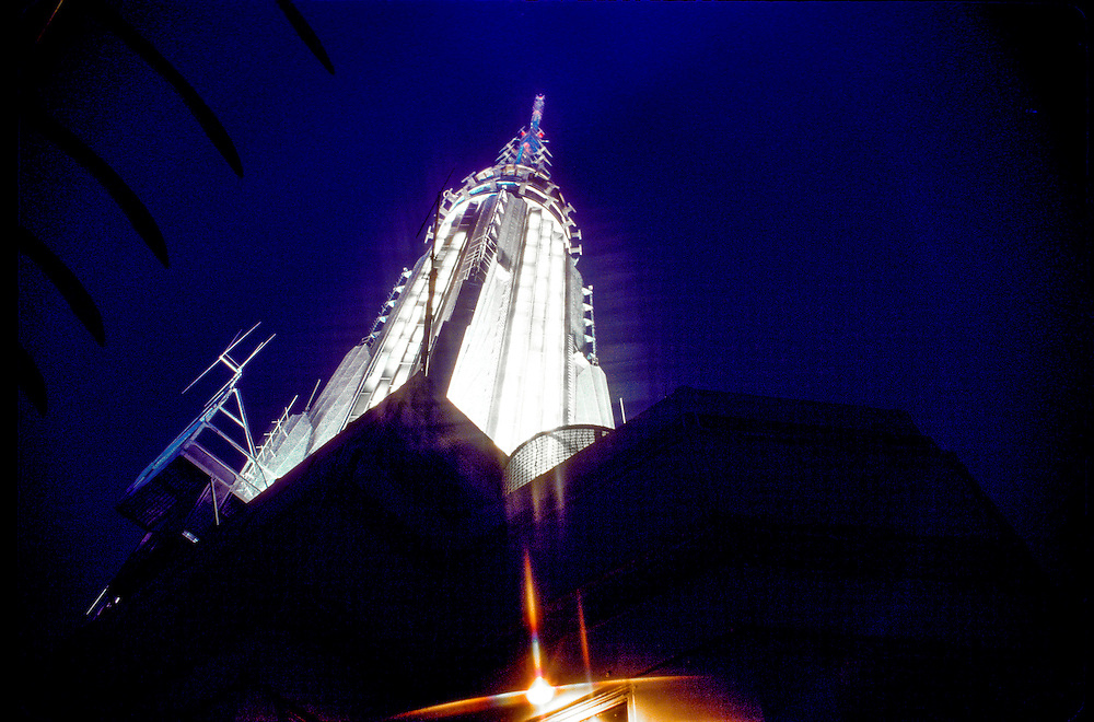 The Empire State Building's Art Deco spire, viewed from the building's 86th-floor Observation Deck. A second, higher Observatory is in the tower itself, at the concentric rings in this photo, at the 102nd floor.