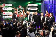 Gli allenatori e i capitani con la coppa, Presentazione POSTEMOBILE Final Eight 2017 - Rimini 16-19 fabbraio 2017 - studi RAI, Milano 23 gennaio 2017