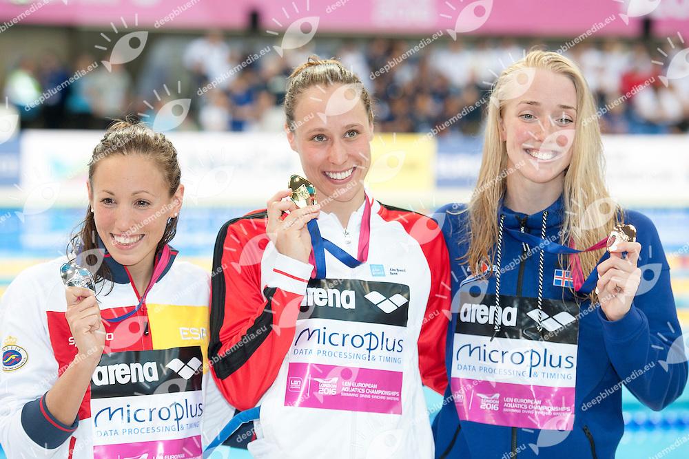 Jessica VALL MONTERO ESP Silver <br /> Rikke Moeller PEDERSEN DEN Gold Medal <br /> Hrafnhildu LUTHERSDOTTIR ISL Bronze medal <br /> 200m Breaststroke Women Final<br /> London, Queen Elizabeth II Olympic Park Pool <br /> LEN 2016 European Aquatics Elite Championships <br /> Swimming<br /> Day 12 20-05-2016<br /> Photo Andrea Staccioli/Deepbluemedia/Insidefoto
