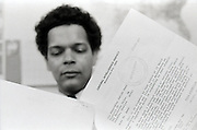 Julian Bond,  a founder of SNCC - The Student Non-Violent Coordinating Committee and later Chairman of the NAACP - reviews a  response letter to his Freedom of Information (FOI) request from the Central Intelligence Agency (CIA) in April of 1975. Bond, a civil rights and anti VietNam war activist suspected that he and others in the movements were the victims of targeted US government surveillance. An elected Georgia state legislator, Bond was unhappy with the government's scant response.