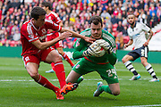 Fulham Goalkeeper Andy Lonergan gathers the ball at the feet of Middlesbrough FC striker David Nugent during the Sky Bet Championship match between Middlesbrough and Fulham at the Riverside Stadium, Middlesbrough, England on 17 October 2015. Photo by George Ledger.
