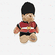 Digitally enhanced image of a British Buckingham Palace beefeater soldier guard Teddy bear stuffed doll