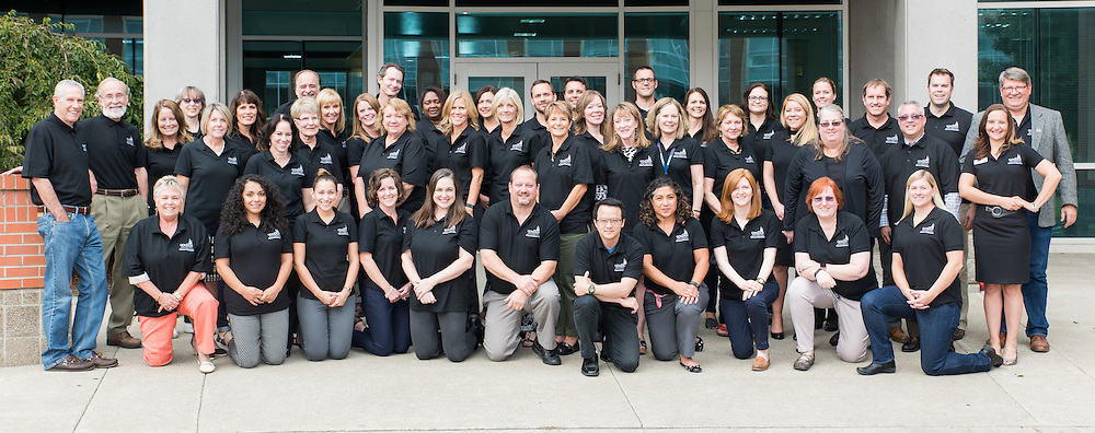 Gonzaga University's school of education faculty poses for a group shot on September 21st, 2016 in front of the Rosauer Center. (Photo by Edward Bell)