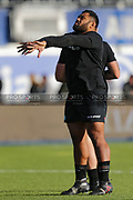 Saracens hooker Christopher Tolofua (2) stretching before the Premiership Rugby Cup match between Saracens and Worcester Warriors at Allianz Park, Hendon, United Kingdom on 11 November 2018.