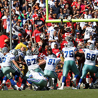 Dallas Cowboys kicker Dan Bailey (5) during an NFL football game between the Dallas Cowboys and the San Francisco 49ers at Candlestick Park on Sunday, Sept. 18, 2011 in San Francisco, CA.   (Photo/Alex Menendez)