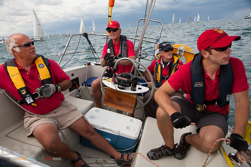 "(Lt. - Rt.) Dan Siedlecki, Don Hanna, Jasper Rine, Andy Marin, abroad ""Intuition,"" prepare to start in the 2009 Race to Mackinac Island."