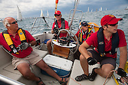 "(Lt. - Rt.) Dan Siedlecki, Don Hanna, Jasper Rine, Andy Marin, abroad ""Intuition,"" prepare to start in the 2009 Race to Mackinac Island."