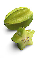 Carambola fruit on white background