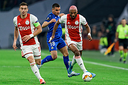 Ryan Babel #49 of Ajax and Mauro Arambarri #18 of Getafe in action during the Europa League match R32 second leg between Ajax and Getafe at Johan Cruyff Arena on February 27, 2020 in Amsterdam, Netherlands