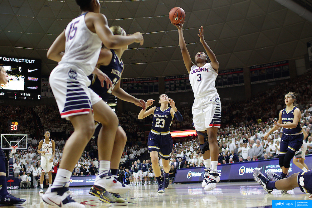 Morgan Tuck, UConn, shoots for two during the Notre Dame Vs UConn Women's Basketball game at Grampel Pavilion, Storrs, Connecticut, USA. 5th December 2015. Photo Tim Clayton