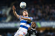 QPR (18) Jack Robinson, Fulham (3) Ryan Sessegnon  during the EFL Sky Bet Championship match between Queens Park Rangers and Fulham at the Loftus Road Stadium, London, England on 29 September 2017. Photo by Sebastian Frej.
