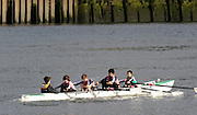 Hammersmith, GREAT BRITAIN,   Westminster School, move away from Hammersmith Bridge in the JC4X, during the 2008 School Head of the River Race,  04/03/2008  2008. [Mandatory Credit, Peter Spurrier/Intersport-images] Rowing Course: River Thames, Championship course, Putney to Mortlake 4.25 Miles, Hammersmith Bridge