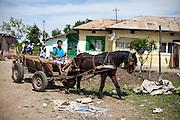 Street scene in the Roma area of Frumusani.