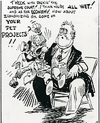 Franklin Delano Roosevelt's New Deal:  'Back Talk from the Dummy' showing Congress refusing to play Charlie McCarthy to FDR's ventriloquist Edgar Bergen. The majority of newspapers, magazines and cartoonists opposed the Second New Deal. c1937.
