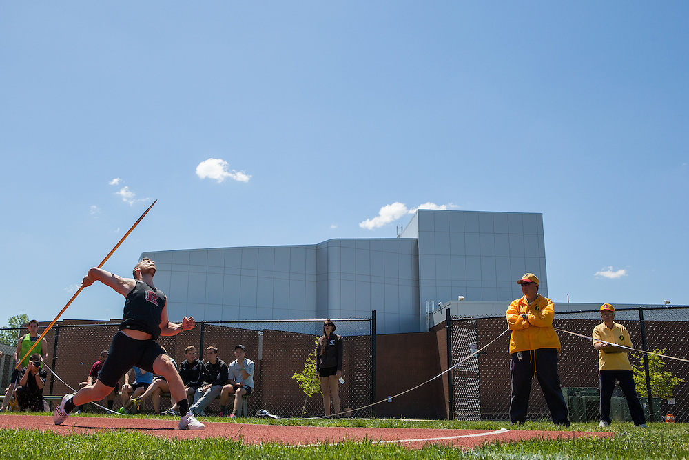 Rutgers Newark's Joshua Stinson competes in the men's javelin  at the NJAC Track and Field Championships at Richard Wacker Stadium on the campus of  Rowan University  in Glassboro, NJ on Sunday May 5, 2013. (photo / Mat Boyle)