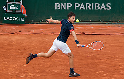 June 1, 2018 - Paris, Ile-de-France, France - Dominic Thiem of Austria returns the ball to Matteo Berrettini of Italy during the third round at Roland Garros Grand Slam Tournament - Day 6 on June 01, 2018 in Paris, France. (Credit Image: © Robert Szaniszlo/NurPhoto via ZUMA Press)