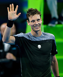 Tomas Berdych of Czech Republic celebrates his win over Pierre-Hugues HERBERT of France during their Quarter - Final of ATP Qatar Open Tennis match at the Khalifa International Tennis Complex in Doha, capital of Qatar, on January 03, 2019. Tomas Berdych won 2-0  (Credit Image: © Nikku/Xinhua via ZUMA Wire)
