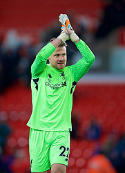 STOKE-ON-TRENT, ENGLAND - Wednesday, November 29, 2017: Liverpool's goalkeeper Simon Mignolet applauds the travelling supporters after the FA Premier League match between Stoke City and Liverpool at the  Bet365 Stadium. (Pic by David Rawcliffe/Propaganda)