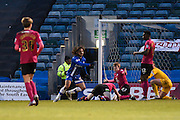 Gillingham midfielder Bradley Dack scores a goal to make it 2-1 to Gillingham during the Sky Bet League 1 match between Gillingham and Peterborough United at the MEMS Priestfield Stadium, Gillingham, England on 23 January 2016. Photo by David Charbit.