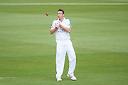 Kyle Abbott of Hampshire bowling during the Specsavers County Champ Div 1 match between Hampshire County Cricket Club and Middlesex County Cricket Club at the Ageas Bowl, Southampton, United Kingdom on 14 April 2017. Photo by David Vokes.