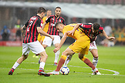 Patrik Schick of AS Roma and Davide Calabria, Mateo Musacchio of AC Milan during the Italian championship Serie A football match between AC Milan and AS Roma on August 31, 2018 at San Siro stadium in Milan, Italy - Photo Morgese - Rossini / ProSportsImages / DPPI