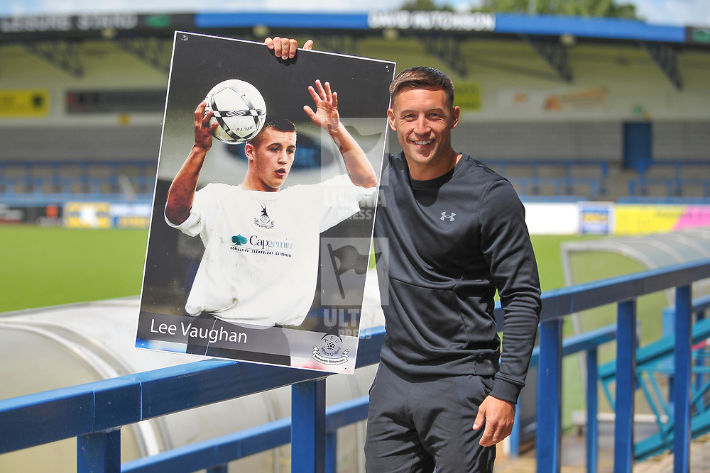 TELFORD COPYRIGHT MIKE SHERIDAN AFC Telford new signing Lee Vaughan with a picture taken during his first spell with the club in 2004, at the New Bucks Head Stadium on Friday, June 6, 2020.<br /> <br /> Picture credit: Mike Sheridan/Ultrapress<br /> <br /> MS202021-001