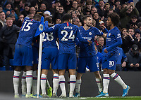 Football - 2019 / 2020 Premier League - Chelsea vs. Aston Villa<br /> <br /> Chelsea players celebrate after Mason Mount (Chelsea FC) scores his teams second goal at Stamford Bridge <br /> <br /> COLORSPORT/DANIEL BEARHAM