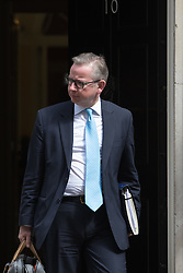 Downing Street, London, May 17th 2016. Justice Secretary Michael Gove leaves the weekly cabinet meeting in Downing Street.