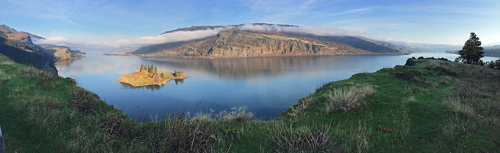 Eighteenmile Island and Columbia River Gorge from from the Historic Columbia River Highway, Oregon