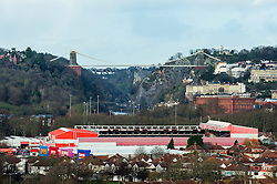 A general view of Bristol City's Ashton Gate Stadium with the Clifton Suspension Bridge seen in the background - Photo mandatory by-line: Rogan Thomson/JMP - Tel: Mobile: 07966 386802 - 04/12/2012 - SPORT - FOOTBALL - Ashton Gate Stadium - Bristol.