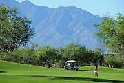 The Santa Rita Mountains of the Coronado National Forest in the Sonoran Desert serve as a backdrop for the Quail Course at Quail Creek in Green Valley, Arizona, USA.
