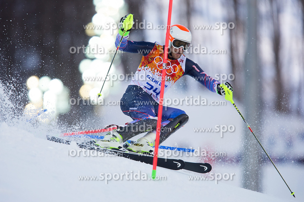 14.02.2014, Rosa Khutor Alpine Center, Krasnaya Polyana, RUS, Sochi 2014, Super- Kombination, Herren, Slalom, im Bild Bode Miller (USA) // Bode Miller of the USA in action during the Slalom of the mens Super Combined of the Olympic Winter Games 'Sochi 2014' at the Rosa Khutor Alpine Center in Krasnaya Polyana, Russia on 2014/02/14. EXPA Pictures © 2014, PhotoCredit: EXPA/ Johann Groder