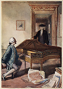 Mozart and the mysterious stranger, 1791 (c1914).   The stranger was a messenger from Count Walsegg-Stuppach with a commission for a Requiem for voices and orchestra.  The Requiem was for the Count's wife, Anna, who had died in February 1791 at the age of 20.  It was the Count's intention to pass the work off as his own.  Mozart died before he could complete the Requiem but it was finished by one of his pupils and duly delivered.  From 'A Day With Wolfgang Amadeus Mozart' by May Byron. (London, c1914).