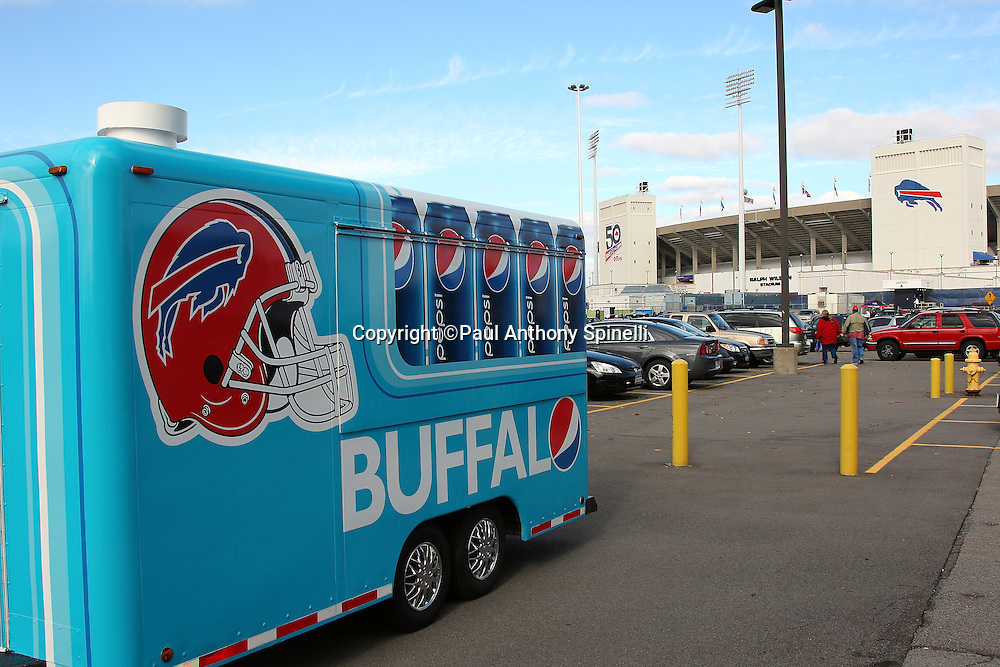 General view of the a drink truck and stadium exterior prior to the Buffalo Bills NFL football game against the Houston Texans, November 1, 2009 in Orchard Park, New York. The Texans won the game 31-10. (©Paul Anthony Spinelli)